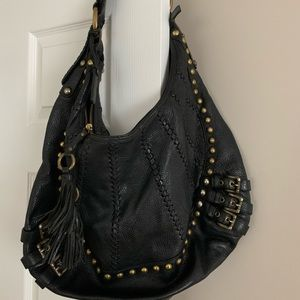 Isabella Foire Black Leather Hobo Bag